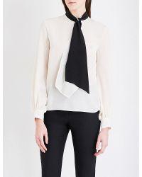 Lanvin | White Tie-neck Silk-georgette Blouse | Lyst
