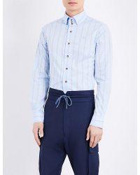 Vivienne Westwood | Blue Krall Logo-print Stretch-cotton Shirt for Men | Lyst