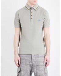 Vivienne Westwood | Gray Striped-trim Cotton-piqué Polo Shirt for Men | Lyst