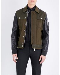 DSquared² | Multicolor Military Cotton And Leather Bomber Jacket for Men | Lyst
