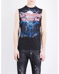 DSquared² | Black Brand-logo Sleeveless Cotton-jersey T-shirt for Men | Lyst