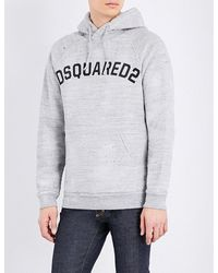 DSquared² | Gray Brand-logo Cotton-jersey Hoody for Men | Lyst