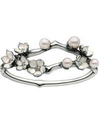 Shaun Leane | Metallic Silver And Diamond Cherry Blossom Cuff | Lyst