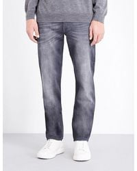 7 For All Mankind - Gray Huntley Slim-fit Stretch-denim Jeans for Men - Lyst
