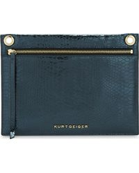 Kurt Geiger - Green Gemini Snake-embossed Leather Pouch - Lyst