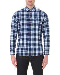 DIESEL | Blue S-oasis Cotton-blend Plaid Shirt for Men | Lyst
