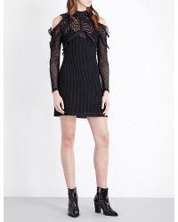 Self-Portrait - Black Purl Knit Combi Mini Dress - Lyst