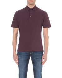 Canali - Purple Cotton-pique Polo Shirt for Men - Lyst