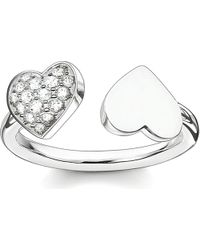 Thomas Sabo - White Classic Sterling Silver And Pavé Zirconia Double Heart Open Ring - Lyst