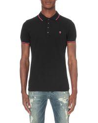 DIESEL | Black T-skin Polo Shirt for Men | Lyst