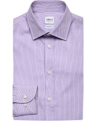 Armani - Purple Modern-fit Diamond-pattern Cotton Shirt for Men - Lyst