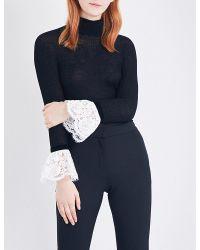 Philosophy Di Lorenzo Serafini - Black Ladies Knitted Feminine Lace-trim Turtleneck Top - Lyst