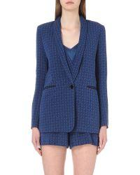Sandro | Blue Diamond-pattern Brocade Blazer | Lyst