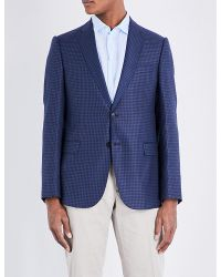 Armani | Blue Checked Single-breasted Wool Jacket for Men | Lyst