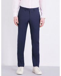 Armani | Blue Regular-fit Micro Checked Wool Trousers for Men | Lyst