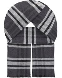 Johnstons | Gray Brushed Check Merino Wool Scarf for Men | Lyst