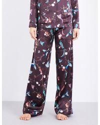 Meng - Blue Floral-print Silk Pyjama Bottoms - Lyst