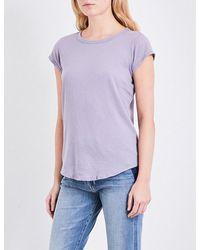 James Perse | Purple Curved-hem Cotton-jersey T-shirt | Lyst