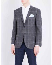 Corneliani   Gray Leader-fit Windowpane-print Wool Jacket for Men   Lyst