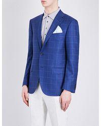 Corneliani - Blue Academy-fit Windowpane-print Silk Jacket for Men - Lyst