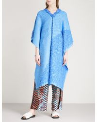 Issey Miyake - Blue Draped Geometric Pleated Dress - Lyst