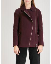 Whistles - Purple Maddie Wool-blend Biker Coat - Lyst
