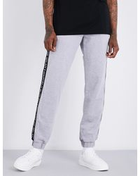 Marcelo Burlon - Gray Logo-print Cotton-jersey Jogging Bottoms for Men - Lyst