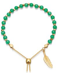 Astley Clarke | Green Onyx Super Kula Feather 18ct Yellow-gold Vermeil Bracelet | Lyst