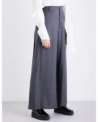 Moohong - Gray Pleated Wide High-rise Wool Trousers - Lyst