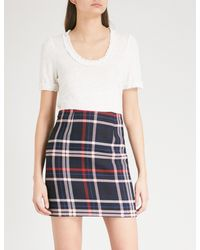 Claudie Pierlot - White Frilled Linen-blend T-shirt - Lyst