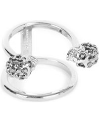 Alexander McQueen - Metallic Twin Skull Silver-plated Double Band Ring - Lyst