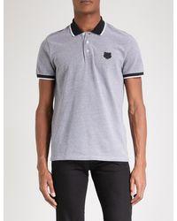 KENZO - Black Tiger-badge Cotton-piqué Polo Shirt for Men - Lyst
