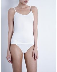 Bodas - White V-neck Stretch-cotton Camisole - Lyst