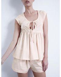 Bodas - Pink Pleated Cotton-jersey Pyjama Set - Lyst
