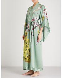 Meng - Green Floral-print Silk-satin Kimono Robe - Lyst