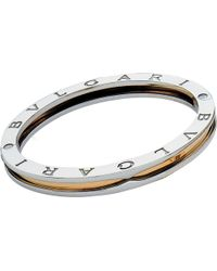 BVLGARI - Metallic B.zero1 18kt Yellow-gold And Steel Bangle Bracelet - Lyst
