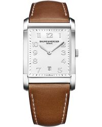 Baume & Mercier White Hampton 10153 Polished Steel And Leather Watch for men