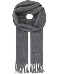 Lanvin - Gray Logo Embroidered Cashmere Scarf for Men - Lyst