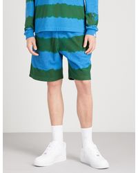 BBCICECREAM - Green Striped Relaxed-fit Cotton-terrycloth Shorts for Men - Lyst
