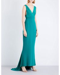 Diane von Furstenberg - Green V-neck Silk Gown - Lyst