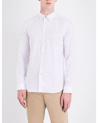 PS by Paul Smith - White Slim-fit Geometric-print Cotton Shirt for Men - Lyst