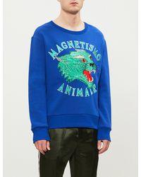 da871a3dedb Gucci Magnetismo Animale Cotton-jersey Sweatshirt in Blue for Men - Lyst