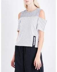 Izzue | White Cold-shoulder Cotton-jersey Top | Lyst