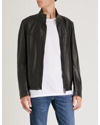 BOSS - Black High-neck Leather Jacket for Men - Lyst