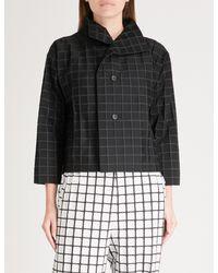 Issey Miyake - Black Square-pattern Boxy Woven Jacket - Lyst
