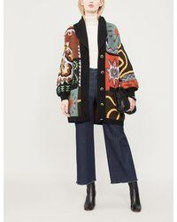 Etro - Blue Geometric-pattern Wool-blend Cardigan - Lyst