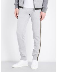 2267732bec12 Moncler Striped-side Cotton-jersey Jogging Bottoms in Gray for Men ...