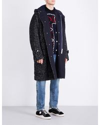 Sacai - Black Herringbone Wool-blend Coat for Men - Lyst