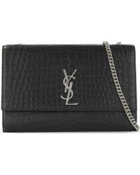 Saint Laurent - Black Monogram Kate Large Crocodile-embossed Cross-body Bag - Lyst