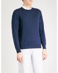Brunello Cucinelli - Blue Crewneck Wool And Cashmere Jumper for Men - Lyst